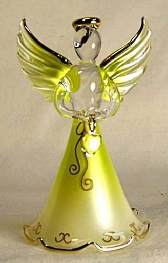 """BIRTHSTONE ANGELS AUGUST (PERIDOT) GLASS ANGEL HOLDING LIGHT LIME GLASS HEART 22K GOLD TRIM  MEASURES 2 3/16"""" x 2 1/16"""" x 3 3/4"""""""