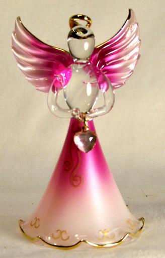 "BIRTHSTONE ANGELS OCTOBER (TOURMALINE) GLASS ANGEL HOLDING PINK GLASS HEART 22K GOLD TRIM  MEASURES 2 3/16"" x 2 1/16"" x 3 3/4"""