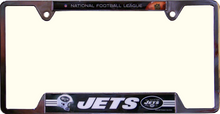 "NEW YORK JETS METAL LICENSE PLATE FRAME  MEASURES 12 1/4"" X 1/4"" X 6 1/4"""