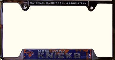 "NEW YORK KNICKS METAL LICENSE PLATE FRAME  MEASURES 12 1/4"" X 1/4"" X 6 1/4"""
