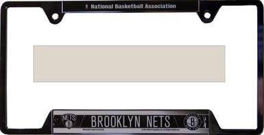"NEW YORK - BROOKLYN NETS METAL LICENSE PLATE FRAME MEASURES 12 1/4"" X 1/4"" X 6 1/4"""