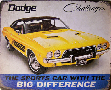 """DODGE CHALLENGER VINTAGE ADD TIN SIGN MEASURES 15"""" X 12""""  WITH HOLES IN EACH CORNER FOR EASY MOUNTING"""