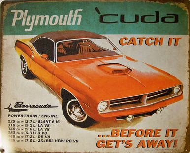 "PLYMOUTH CUDA VINTAGE TIN SIGN MEASURES 15"" X 12"" WITH HOLES IN EACH CORNER FOR EASY MOUNTING"