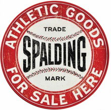 """ROUND CUSTOM SPALDING BASEBALL EQUIPMENT SIGN, ENAMEL FINISH ON STEEL MEASURES 14"""" DIAMETER WITH A HOLE AT THE TOP & BOTTOM FOR EASY MOUNTING."""