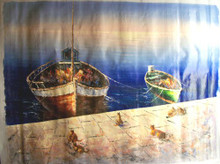 Photo of CATS ON WARF BY FISHING BOATS LARGE SIZED OIL PAINTING