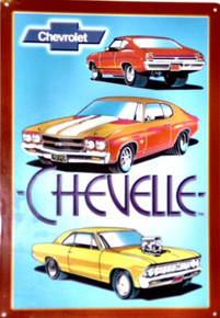 Photo of CHEVY CHEVELLE COLLAGE SIGN WITH THREE DIFFERENT HAND DRAWN IMAGES GREAT LOOK
