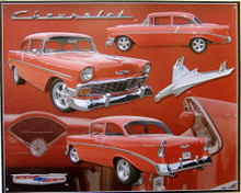 Photo of CHEVY 56 SIGN VIEWS FROM FRONT, BACK, SIDE AND INSIDE, GREAT SIGN SUPER RICH COLOR AND GRAPHICS