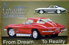 Photo of CHEVY CORVETTE STINGRAY FROM DREAM TO REALITY SIGN SHOWS THE CONCEPT DRAWING AND THE ACTUAL CAR ITSELF AWSOME SIGN