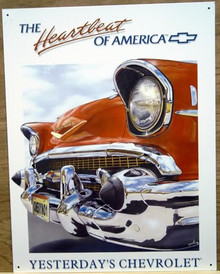 Photo of CHEVY HEARTBEAT (57 BELAIR) SIGN, CLOSE UP VIEW OF THE FRONT BUMBER GRILL AND HEADLIGHTS, YESTERDAY'S CHEVROLET