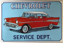 CHEVY SERVICE DEPT 1957 SIGN OLD STYLE GRAPHICS AND COLOR