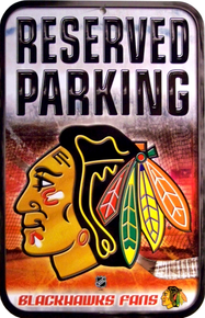 Photo of CHICAGO BLACK HAWKS HOCKEY PARKING ONLY SIGN SUPER COLORS AND GRAPHICS