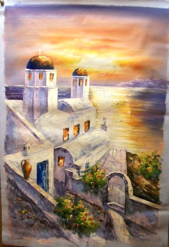 Photo of CHURCH BY SEA AT SUNSET MEDIUM SIZED OIL PAINTING