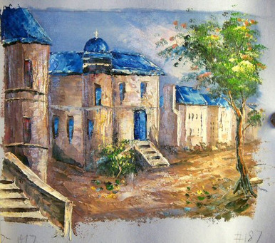 Photo of CHURCH WITH BLUE ROOFS SMALL SIZED OIL PAINTING