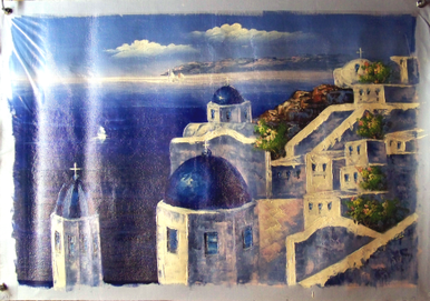 Photo of CHURCH WITH BLUE ROOFS BY OCEAN SIZED OIL PAINTING