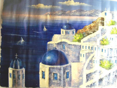 Photo of CHURCH WITH BLUE ROOFS OVERLOOKING OCEAN SIZED OIL PAINTING