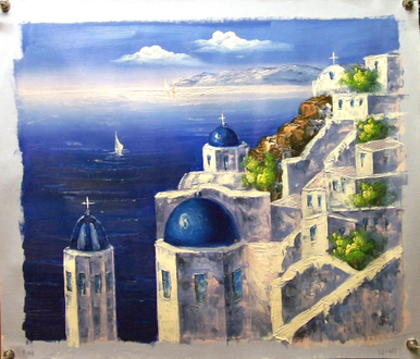 Photo of CHURCH WITH BLUE ROOFS OVERLOOKING SEA SIZED OIL PAINTING