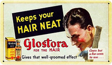 """Heavy Metal Sublimation Process Sign, measures: 14"""" x 8"""" & weighs apox. 1 lb. With holes for easy mounting This is a Special Order sign that normally takes from 2-4 weeks to ship. From the Barber Shop and Shoe Shine Memories licensed collection, this Glostora Vintage Metal Sign measures 14 inches by 8 inches and weighs in at 1 lb(s). Mens hair grooming at its best. Glostroa was a popular product in the 1920-30's. said to keep hair neat, rich looking & well groomed, contained emulsified coconut oil. It cost a few cents for a bottle but a bottle lasted months so it cost a trifle. This was an Original PristineTrolley sign. The metal sign is just as stunning! This Vintage Metal Sign is hand made in the USA using heavy gauge American steel."""