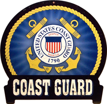 "Photo of COAST GUARD ""RIBBONED"" HEAVY DUTY METAL SIGN HAS RICH COLOR AND OLD TIME GRAPHICS"
