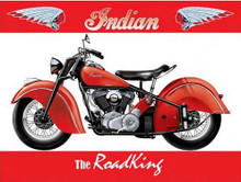 INDIAN ROAD KING MOTORCYCLE VINTAGE ENAMEL SIGN ON HEAVY 24 GAUGE METAL  S/O