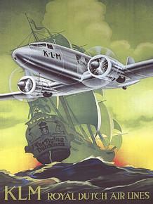 KLM AIRLINES VINTAGE ENAMEL FINISH ON HEAVY 24 GAUGE METAL SIGN S/O