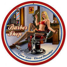 "BARBER SHOP ROUND (LARGE)  28"" (Sublimation Process) Vintage metal Sign S/O"