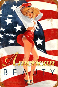 AMERICAN BEAUTY PIN-UP (Sublimation Process) Vintage metal Sign S/O