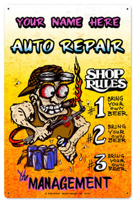 PERSONALIZED AUTO REPAIR SHAPED  (Sublimation Process) Vintage metal Sign S/O