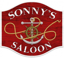 PERSONALIZED SAILOR SALOON SHAPED  (Sublimation Process) Vintage metal Sign S/O