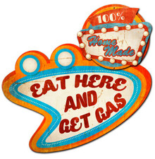 3-D EAT HERE GET GAS (Sublimation Process) Vintage metal Sign (NOT ELECTRIC) S/O