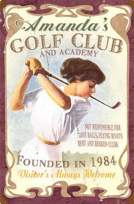 PERSONALIZED GOLF CLUB  (Sublimation Process) Vintage metal Sign with rusted corners for weathered look  S/O