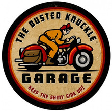 """BUSTED KNUCKLE GARAGE MOTORCYCLE 14"""" ROUND (Sublimation Process) Vintage metal Sign S/O"""