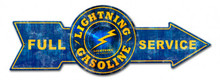 FULL SERVICE LIGHTNING GAS ARROW Sublimation Process Vintage WEATHERED LOOK Metal Sign S/O