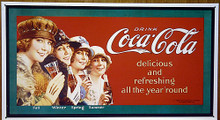 Photo of COKE FOUR SEASONS, COCA-COLA REFRESHING YEAR ROUND SIGN HAS THAT EARLY 30'S LOOK WITH GREAT DETAIL AND COLOR