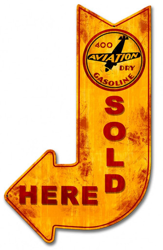 """Heavy Metal Sublimation Process ARROW POINTS DOWN AND TO THE Left Sign, with round logo near the top.  measures: 15"""" x 24"""" & weighs apox. 3 lbs.  With holes for easy mounting.  This is a Special Order sign that normally takes from 2-3 weeks to ship."""