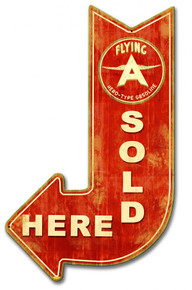 """FULL SERVICE FLYING A ARROW RED """"SOLD HERE"""" Sublimation Process Vintage Metal Sign S/O"""