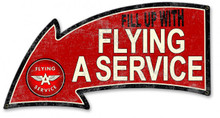 """FILL UP FLYING A SERVICE WEATHERED LOOK """" Sublimation Process Vintage Metal Sign S/O"""