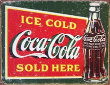 Photo of COKE ICE COLD GREEN COCA-COLA SIGN WITH AN UNUSUAL DARK GREEN BACKGROUND IS GIVEN THAT OLD TIME LOOK