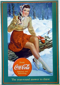 Photo of COKE ICE SKATER GIRL SITTING ON THE EDGE OF THE POND HAS THE 40'S LOOK, GREAT OLD TIME GRAPHICS AND COLOR