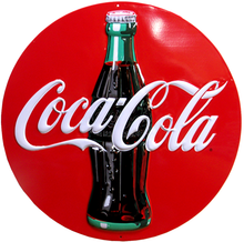 """Photo of COKE  14  1/4"""" ROUND EMBOSSED SIGN HAS GREAT COLOR AND DETAIL"""