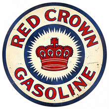 """THIS SIGN WEIGHS APOX. 16 LBS AND MEASURES 42"""" IN DIAMETER, WITH HOLES FOR EASY MOUNTING RED CROWN GASOLINE 42"""" DIA. HEAVY METAL ROUND SIGN, (SUBLIMATION PROCESS)  THIS IS A SPECIAL ORDER SIGN THAT NORMALLY TAKES 2-3 WEEKS TO SHIP"""
