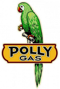 """SHAPED  POLLY GAS PARROT ON PERCH MEASURES 21"""" X 31"""" ON HEAVY METAL, (SUBLIMATION PROCESS) WEIGHS APOX. 6 LLBS.  WITH HOLES FOR EASY MOUNTING"""