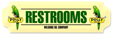 """POLY GAS RESTROOM SIGN ON HEAVY METAL, MEASURES 12"""" X 3"""" AND WEIGHS APOX 1 LB.  HAS HOLES FOR EASY MOUNTING"""