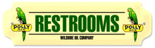 "POLY GAS RESTROOM SIGN ON HEAVY METAL, MEASURES 12"" X 3"" AND WEIGHS APOX 1 LB.  HAS HOLES FOR EASY MOUNTING"