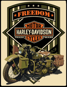 """HARLEY MILITARY MOTORCYCLE MEASURES 14"""" X 17""""  WITH HOLES IN EACH CORNER FOR EASY MOUNTING"""