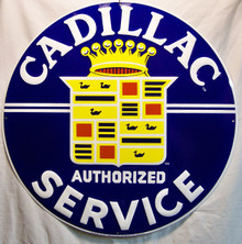 "CADILLAC SERVICE METAL SIGN, MEASURES 23 1/2"" DIAMETER WITH FOUR HOLES FOR EASY MOUNTING.  THIS SIGN HAS SHARP EDGES AND SHOULD NOT BE CONSIDERED A TOY FOR CHILDREN."