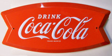 "THIS SHAPED, 3-D EMBOSSED COKE SIGN MEASURES 18"" X 8"" X 3/4"" deep WITH HOLES FOR EASY MOUNTING"