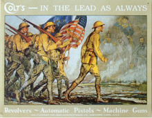 Photo of COLT IN THE LEAD, AN ADD FOR COLT REVOLVERS, AUTOMATIC PISTOLS AND MACHINE GUNS, GREAT WWI GRAPHICS WITH GHOST FROM THE PAST SALUTING THEM