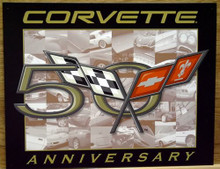 Photo of CORVETTE 50TH ANNIVERSARY SIGN WITH THE CORVETTE FLAGS AND OLD PHOTO'S IN THE BACKGROUND THIS SIGN IS OUT OF PRODUCTION AND STOCKS ARE LIMITED