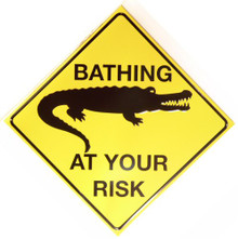Photo of CROCODILE BATHING AT OWN RISK SIGN,  THE GATRO CAN HAVE THE SWIMIN HOLE!