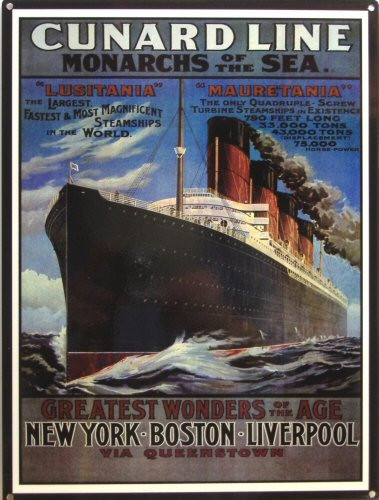Photo of CUNARD LINE TRAVEL POSTER ENAMEL SIGN RICH COLORS AND GRAPHICS